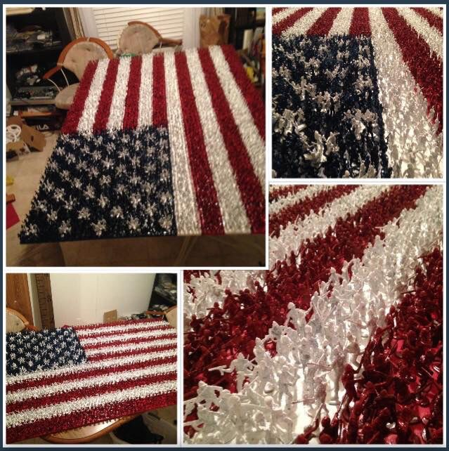 American Flag comprised of thousands of painted, plastic toy Army men