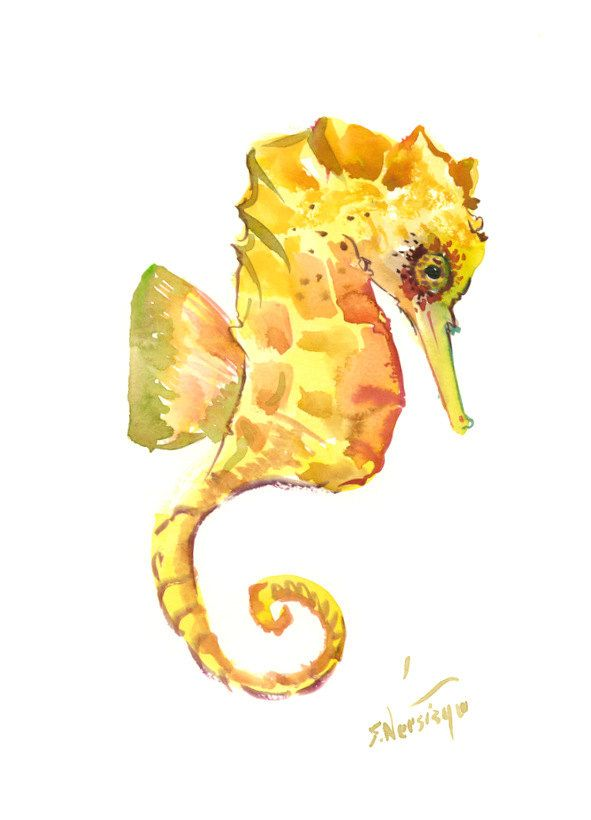 Seahorse Wall decor, seahorse art, one of  a kind original watercolor painting, seahorse art, nursery art, nursery painting by ORIGINALONLY on Etsy