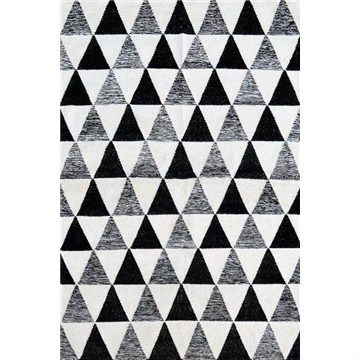 Sweden No.2020 Flat Weave Wool Rug in White/Black - 160x230cm