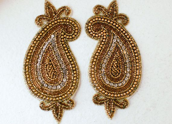 Bollywood Beaded Paisley Applique Rhinestone Patch Embroidery