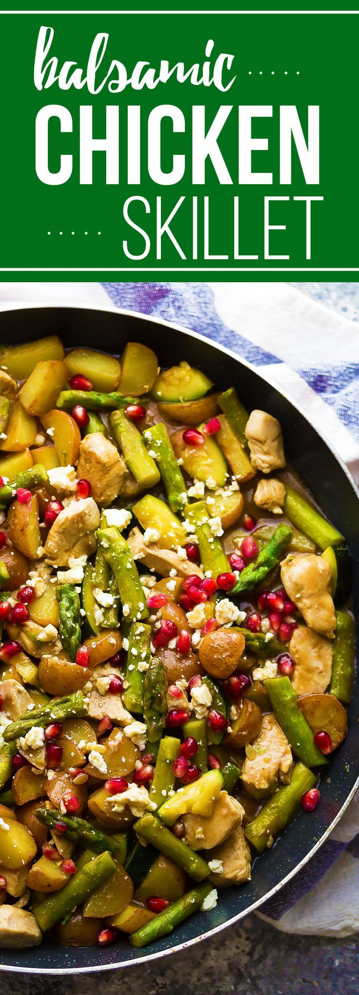 This healthy balsamic chicken skillet with pomegranate and feta and is packed full of veggies for a healthy dinner option.