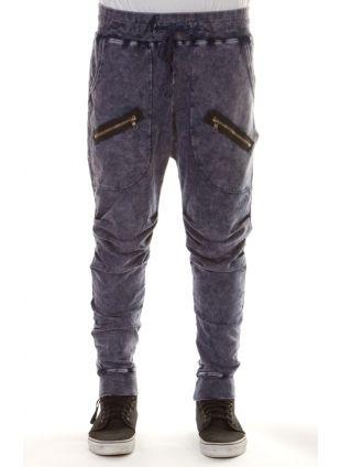 Low crotch sweatpants in denim acid wash. MENS JOGGER PANTS