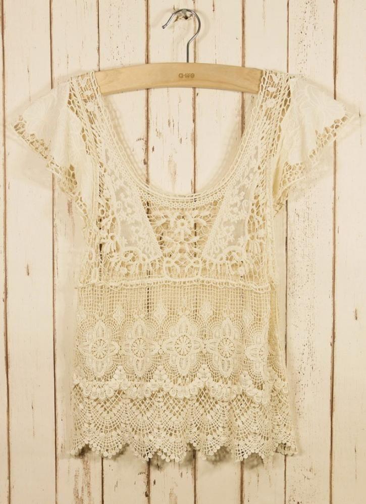 Retro Crochet Top, Top, Lace Floral Cute, Chic