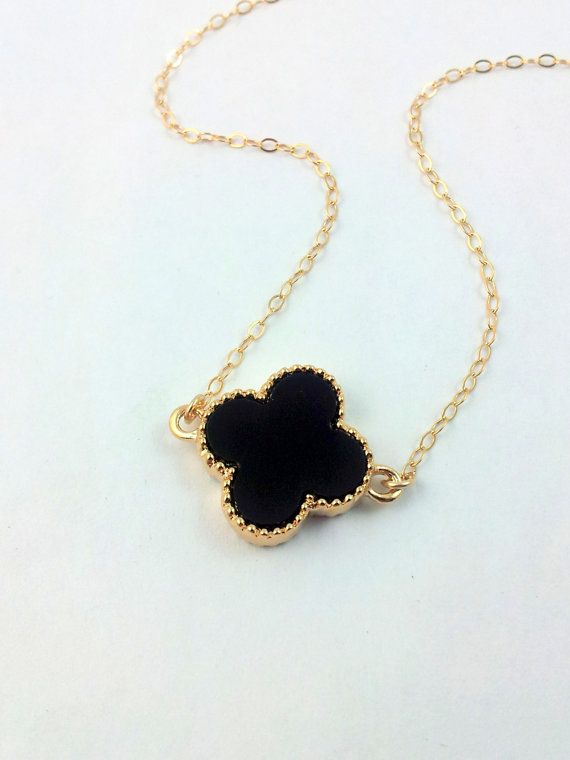 Black Clover Necklace Golf Filled Womens by divinitycollection