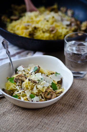 "Say it's so! A hearty pasta dish, but without the post meal ""carb coma""! Dig into this deliciousness without regretting it in the morning--you gotta try this Roasted Spaghetti Squash with Mushrooms. One SCRUMPTIOUS serving is just over 100 calories. Love!"