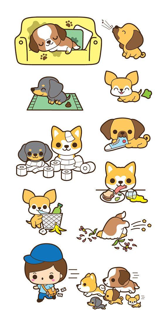 Kawaii Dog Clip Art Cute Dog Clipart Kawaii Puppy Clipart