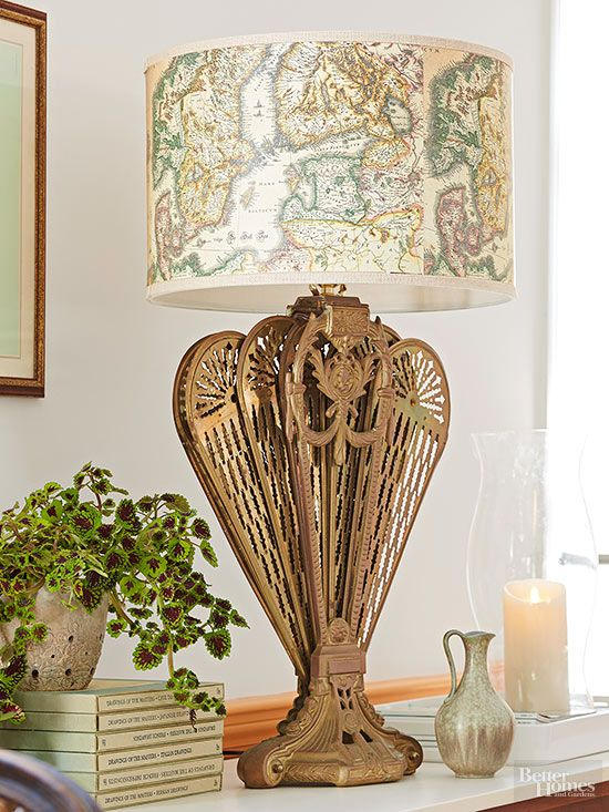 Use a peacock-style Victorian fireplace screen to fashion a showy lamp.