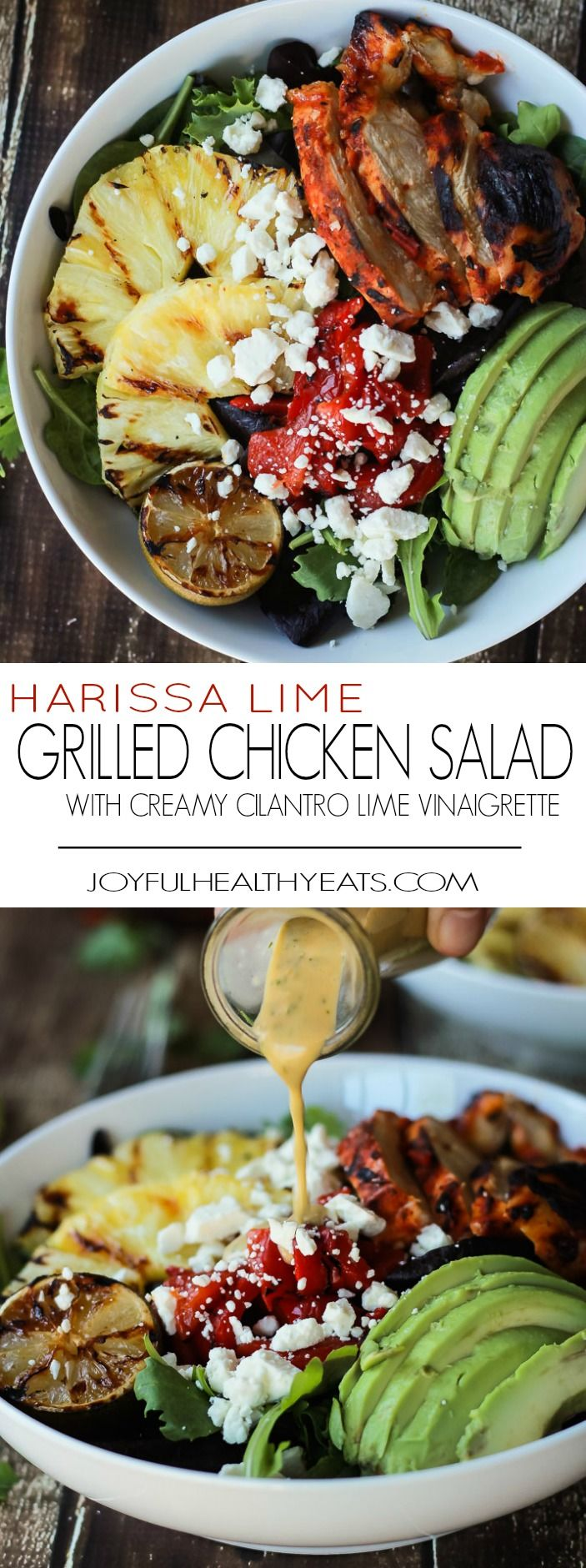 Harissa Lime Grilled Chicken Salad with a Creamy Cilantro Lime Vinaigrette, filled with grilled pineapple, limes, fresh avocado and an amazing dressing! Add to your list!   joyfulhealthyeats.com #glutenfree #recipes