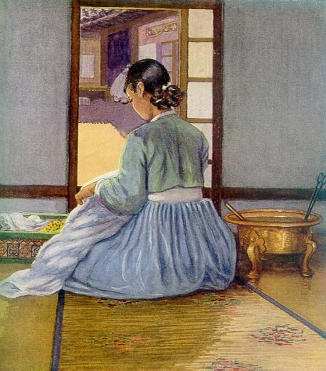 바느질하는 여인 Elizabeth Keith, 1887-1956--paintings of old Korea