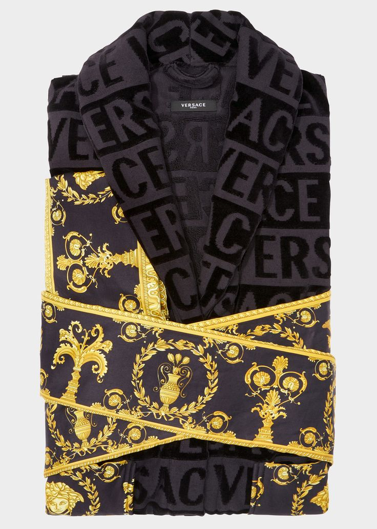 Versace I ♥ Baroque Bathrobe - Home Collection | US Online Store. I ♥ Baroque Bathrobe by Versace Home. <p>Covered in a faint textural VERSACE logo print and accented by a Barocco printed sleeve and wrap belt, this soft and iconically covered bathrobe exudes luxury.</p>