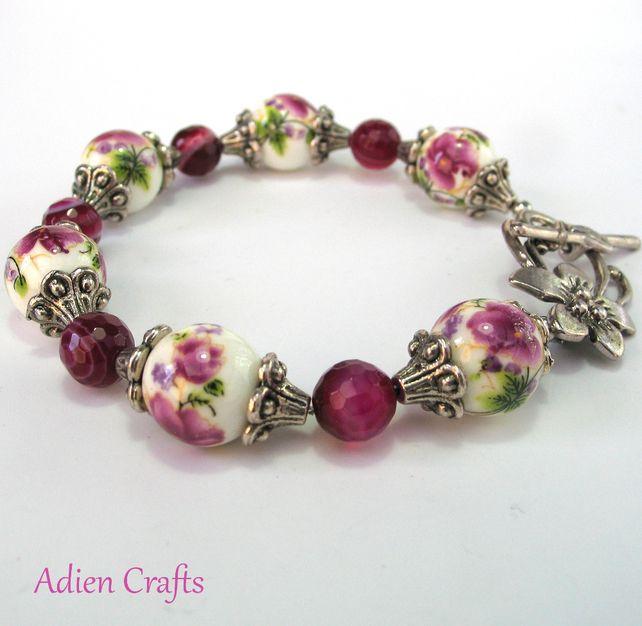 Pink Flower Ceramic Bracelet £11.95