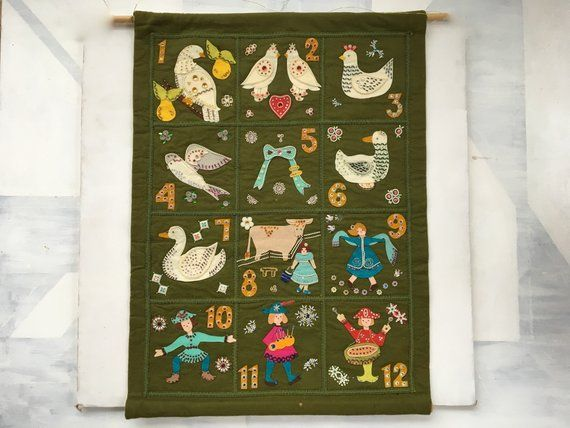 Vintage Christmas Felt Wall Hanging 12 Days Of Christmas Felt Wall Decor Felt Jeweled Christmas Fibe Felt Wall Hanging Fiber Wall Art Christmas Wall Hangings