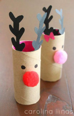 Toilet paper roll reindeer craft