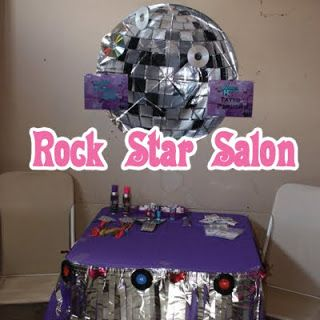 Rock Star Party Salon - There was also a Rock Star Salon set up for the girls with washable color hair spray in pink, blue, and purple; nail polish; make-up; colored hair extensions; and bling rock-star tattoos from Oriental Trading Company.