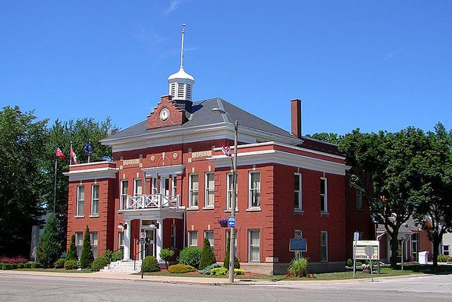 """Bothwell Town Hall, 329 Main Street, Bothwell, Ontario.  North Country Unfading Black roofing slate, 20"""" x 10"""" x 3/16"""""""
