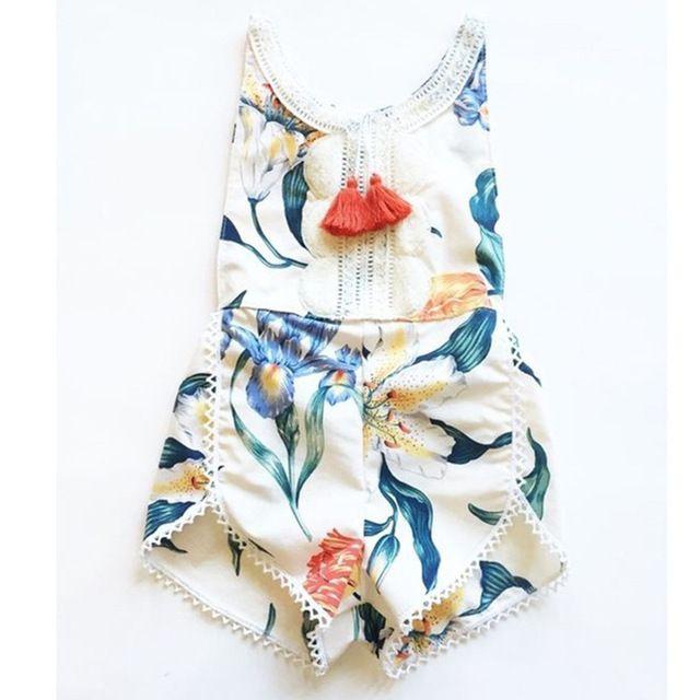 Nieuwe ontwerp Baby Kleding Pasgeboren Baby Romper zomer Baby Meisje Jongen Kleding Kostuum Overalls bloemen tassel Babykleding