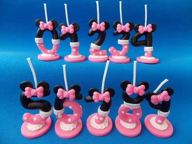 Minnie mouse velas perzonalizadas en porcelana fria