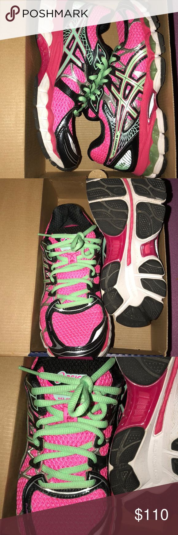 ASICS Nimbus 16 Pink and green nimbus 16 in a women's 6.5. Great for running and exercising. Regular B width. Comes in original box. Asics Shoes Sneakers