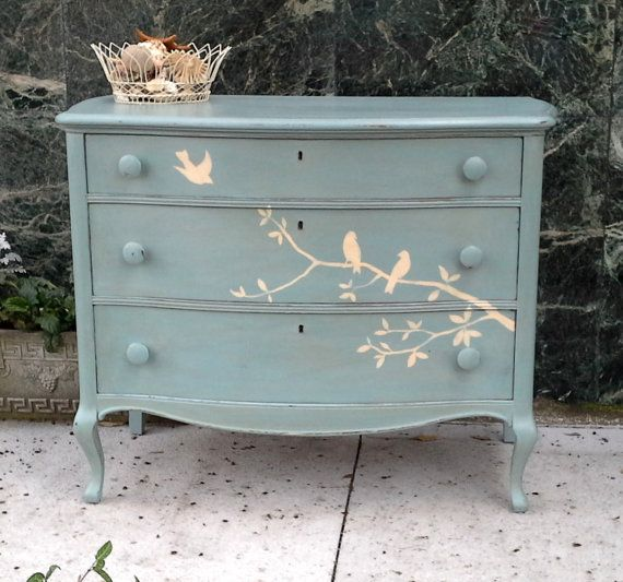 On Sale for limited time only - Beautiful Solid Wood Hand Painted Dresser with Birds, Cottage, Shabby Chic Inspired