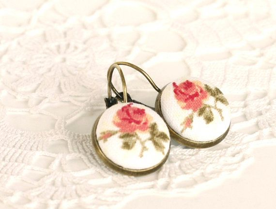 Romantic Leverback Earrings, Antique Tea Roses, Pink Beige Tan and Green Fabric Covered Buttons EarrPillows Rollanda