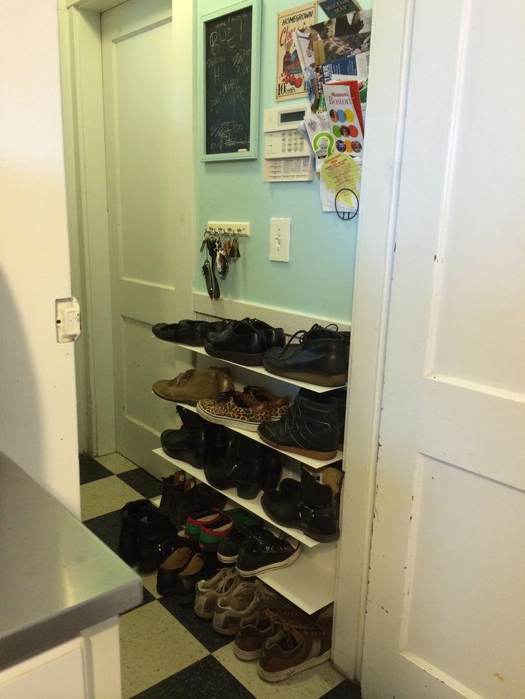 Ikea Botkyrka Shelves As Shoe Storage In A Small Space In