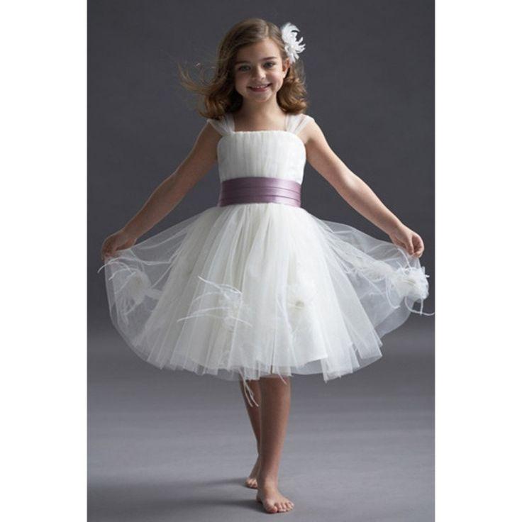 Короткие маленькие дети тюль первое причастие для девочек фрок дизайн перо гольфы платье для свадьбы