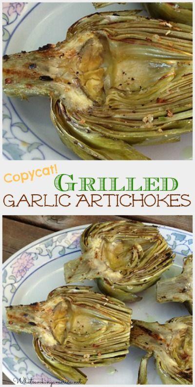 Grilled Garlic Artichokes - Houston's Copycat Recipe   whatscookingamerica.net   #grilled #garlic #artichoke