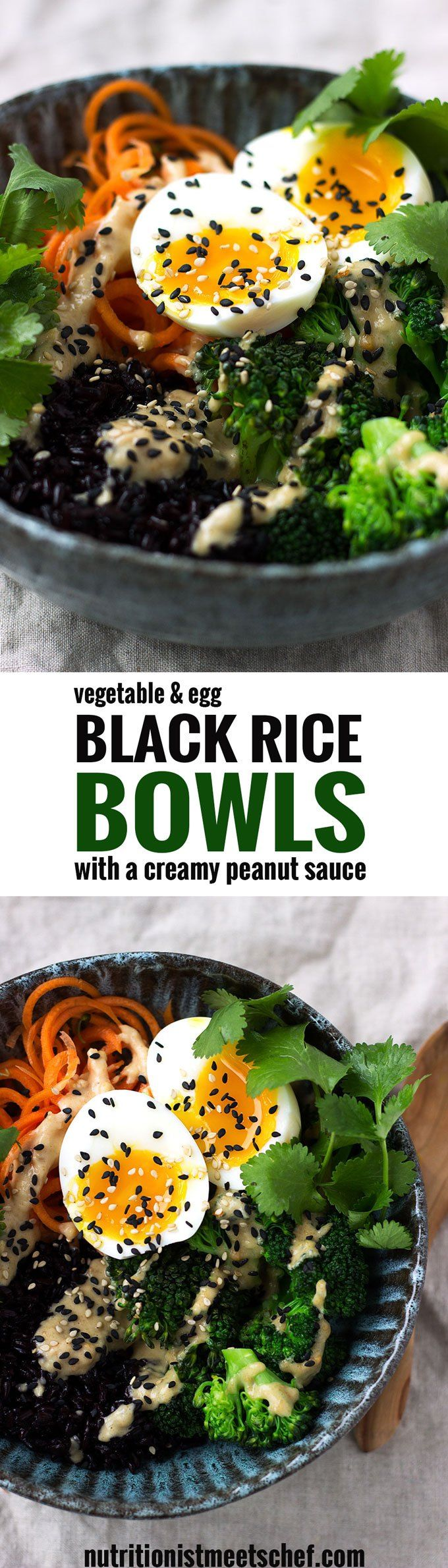 Black Rice, Vegetable and Egg Bowls with Peanut Sauce! An effortless meal that is packed with flavour and nutrients! Get the recipe at nutritionistmeetschef.com