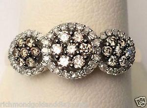 Yellow Gold Past Present Future Three Stone Halo Style Champagne Diamonds Ring | eBay