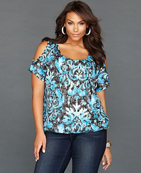 INC International Concepts Plus Size Top, Short-Sleeve Cutout Printed Sequin - Plus Size Tops - Plus Sizes - Macy's