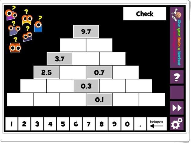 Pirámide de números decimales (Mathplayground.com)