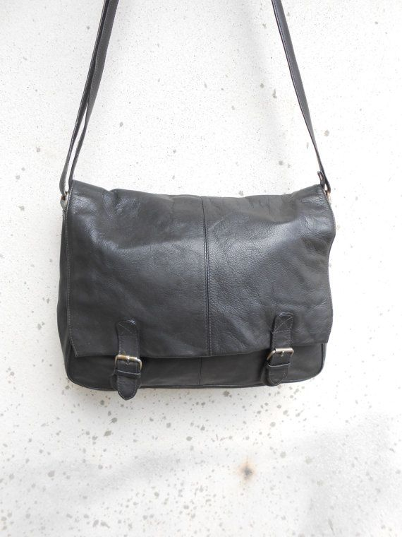 Vintage Leather Bag Black Leather Messenger Bag  by VindicoShop