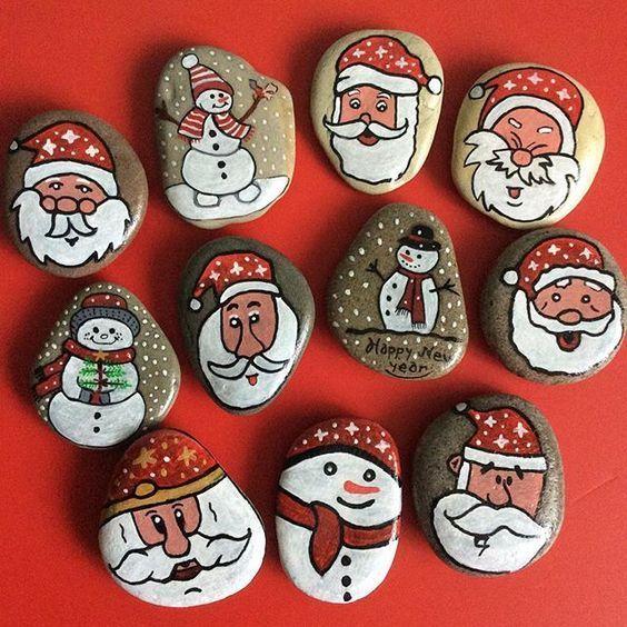 # Stein # Design # Steinmalerei #Zeichnung # Weihnachten # Neujahr #noelbaba # Stein taş