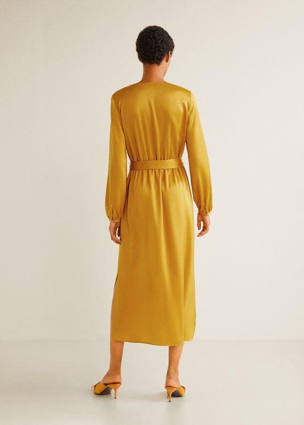 Uzun Saten Elbise Kadin Mango Turkiye Elbise Satin Kadin