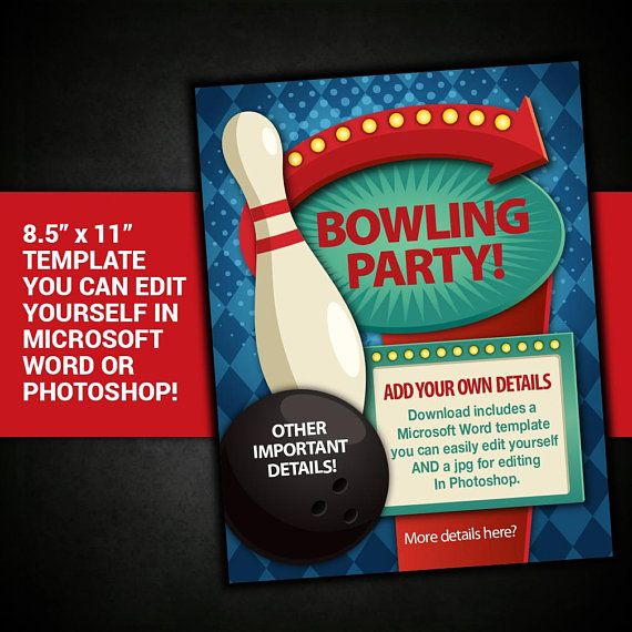 Editable Bowling Party Flyer Bowling Party Poster Bowling Etsy Bowling Party Fundraiser Flyer Party Flyer