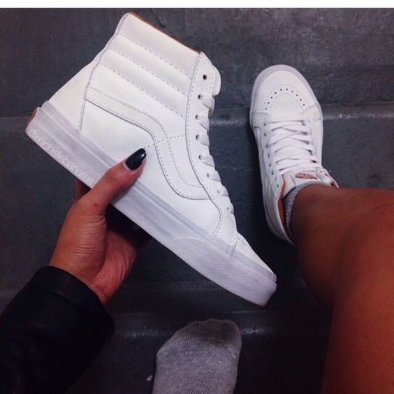 All white high top vans! IN LOVE: