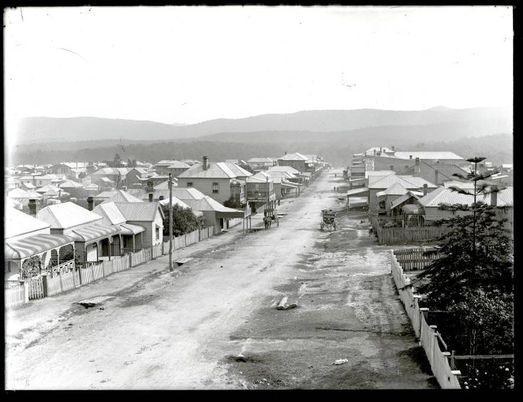 Carrington Street, West Wallsend, NSW, April 1906. Picture: scanned from the original glass negative taken by Ralph Snowball.