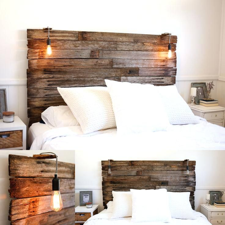 Country Style Headboard Ideas My Recycled Rustic Fence Pailing Timber Bedhead Lamp Kmart Hack For The Li Pallet Wood Headboard Bedroom Headboard Rustic Bedroom