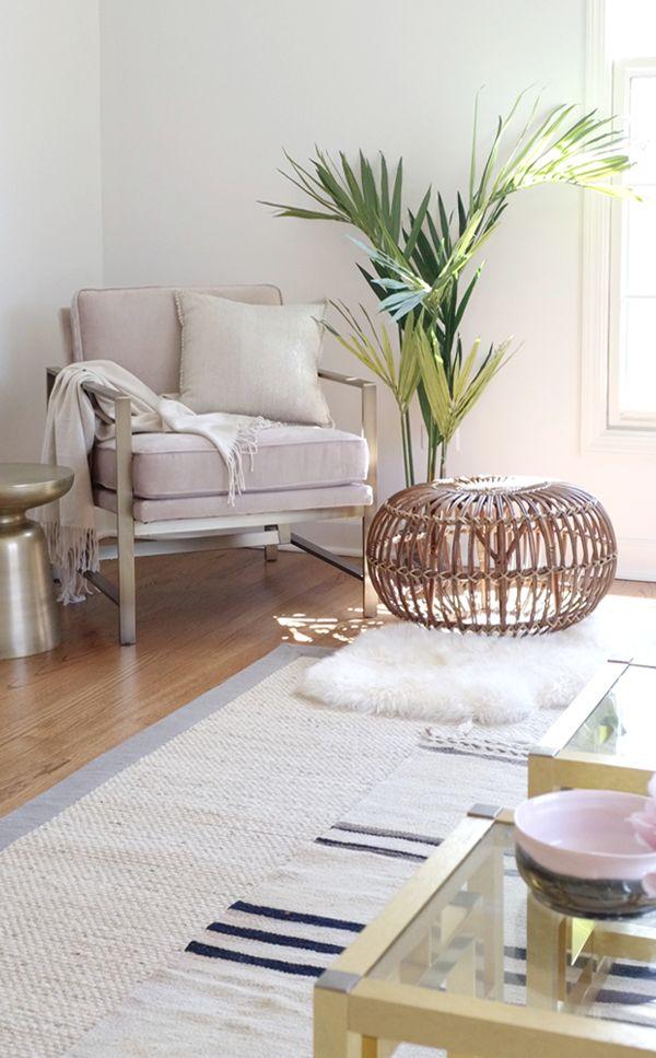 Blogger Stylin Home Tour - Summer Edition - living room - west elm blush pink brass chair