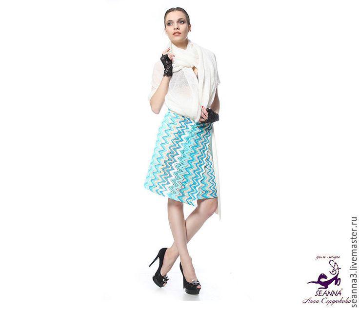 """Купить Красивая вязаная юбка """"Missoni"""" безразмерная, в любых цветах, размера - бирюзовый, юбка бирюзовая"""