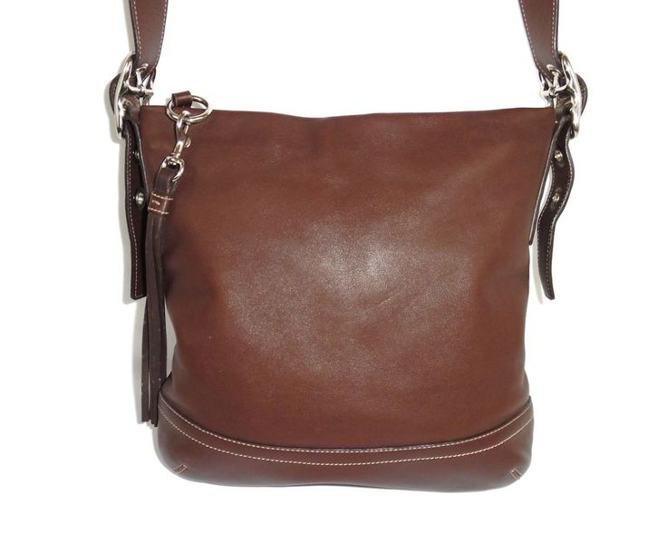 Coach Brown Leather Slim Duffle Soho Hobo Purse Crossbody Shoulder Bag 1415 #Coach #ShoulderBag