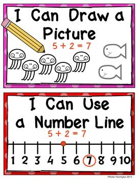 (sample page) Kindergarten Common Core Solving Math Problem Strategy Posters for the Classroom. $