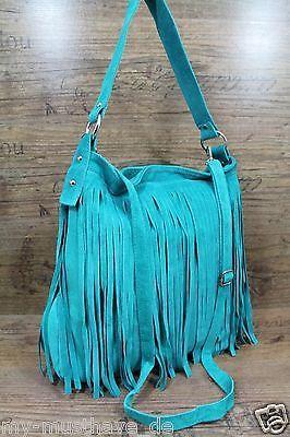 Made in Italy WILDLEDER TASCHE mit Fransen*Beuteltasche*Schultertasche Türkis in Damentaschen | eBay