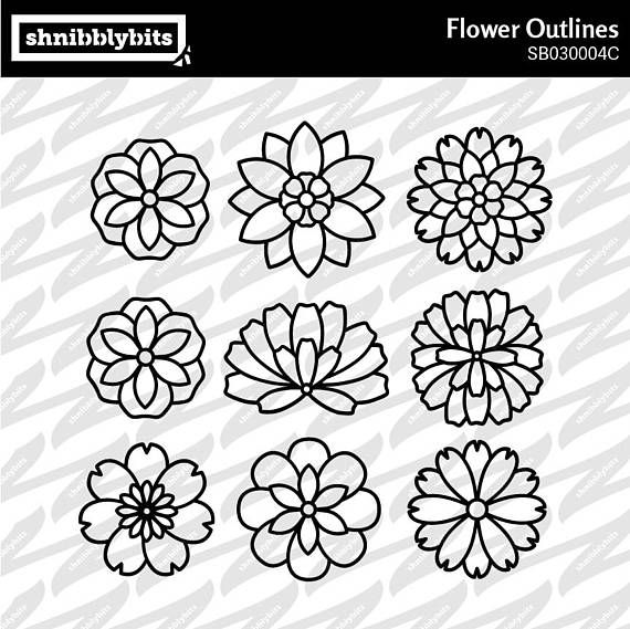 9 Flower Outline Cutouts