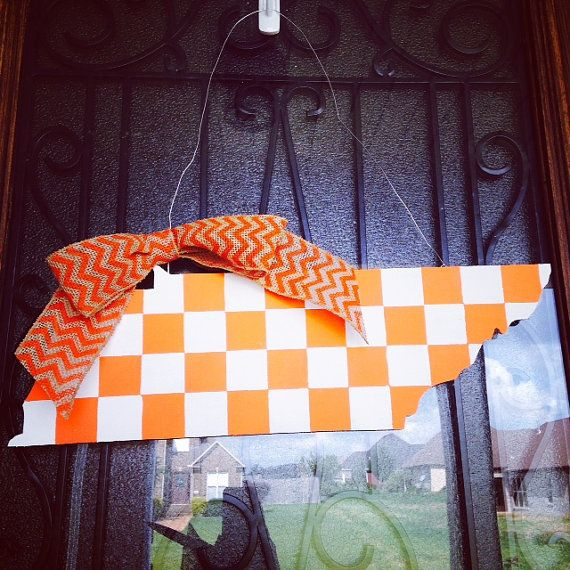 Wooden state of Tennessee door hanger. Tennessee volunteers football. Tennessee vols. wooden state of tennessee. Neyland stadium. Go vols!