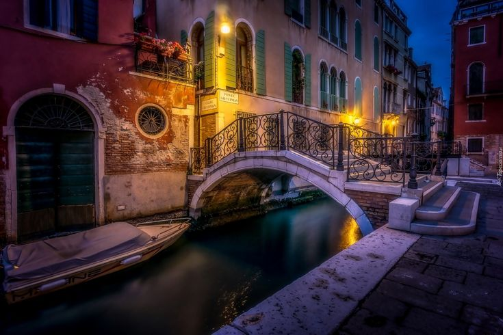 Domy, Kanał, Most, Wenecja, Włochy