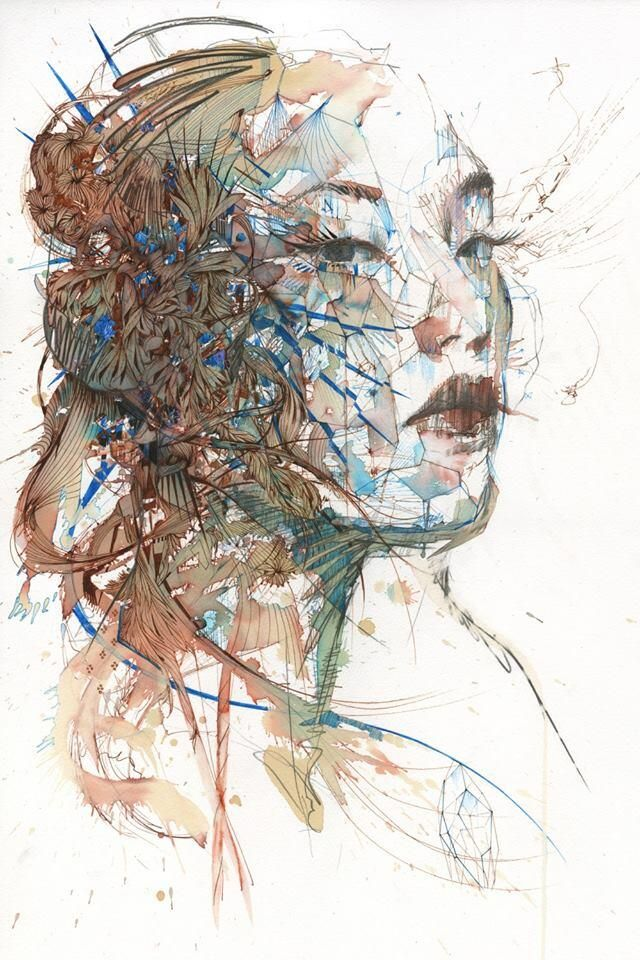 """""""Invisible Lines"""" by #Art[ist] Carne Griffiths (@carnegriffiths). #Hibernacula #Portrait"""