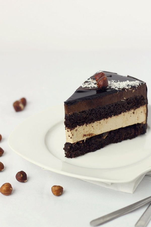 Tort fara gluten, cu crema bavareza de cafea si crema fina de ciocolata/Gluten free entremet-Pasiune pentru bucatarie
