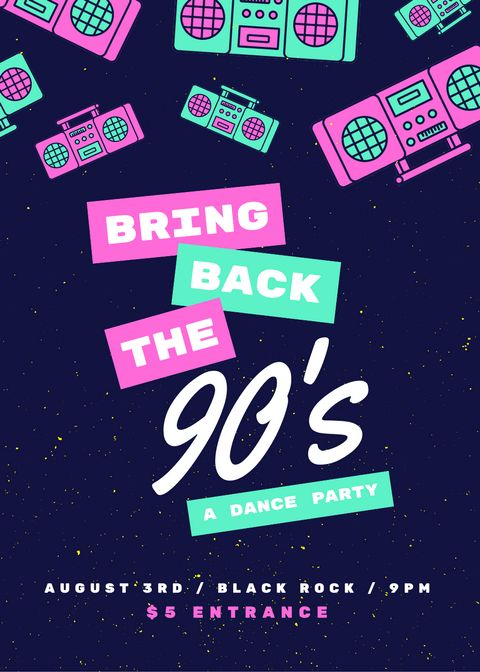 90's Boombox Dance Party Flyer