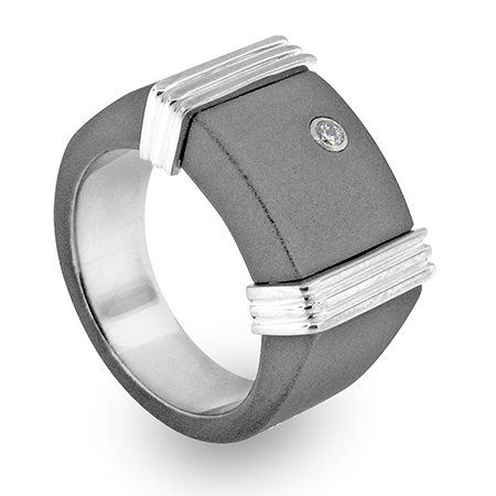 Pinky ring in matte-finish titanium with stainless steel crown elements and a 0.06 ct. diamonds,
